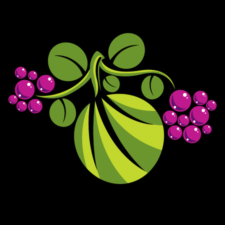 Simple green vector leaf of deciduous tree, stylized nature element. Ecology symbol, can be used in graphic design. Flat leaf with purple seeds or berries.
