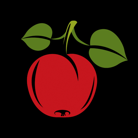 Single red simple vector apple with green leaves, ripe sweet fruit illustration. Healthy and organic food, harvest season symbol. Illustration