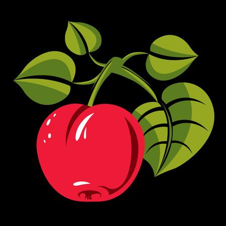 fertility emblem: Single red simple vector apple with green leaves, ripe sweet fruit illustration. Healthy and organic food, harvest season symbol. Illustration