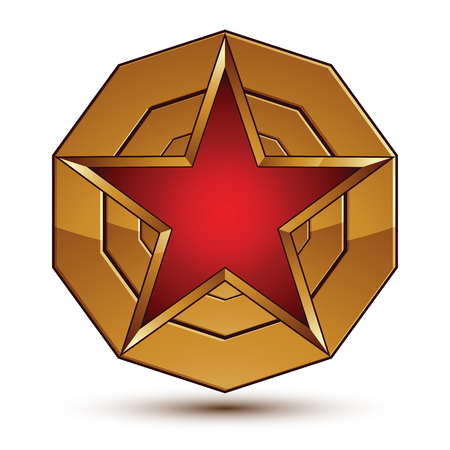 aurum: 3d vector classic royal symbol, sophisticated red star placed on a golden ring, glossy aurum element.