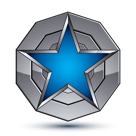 Celebrative metallic geometric symbol, stylized pentagonal blue star placed on a round silver surface, best for use in web and graphic design. Polished 3d vector icon isolated on white background.