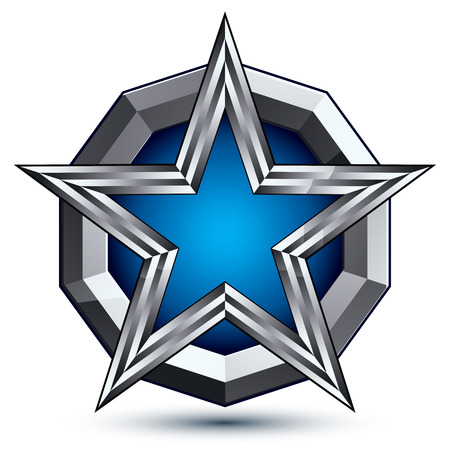Celebrative glamorous geometric symbol, stylized pentagonal blue star placed on a round silver surface, best for use in web and graphic design. Polished 3d vector icon isolated on white background.