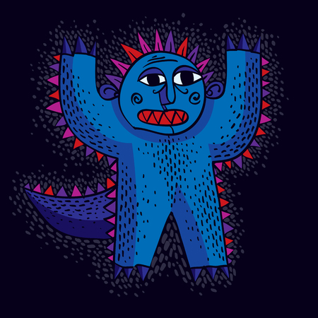 mythic: Vector cool cartoon scared monster with hands up, simple weird creature. Clipart mythic character for use in graphic design and as mascot. Illustration