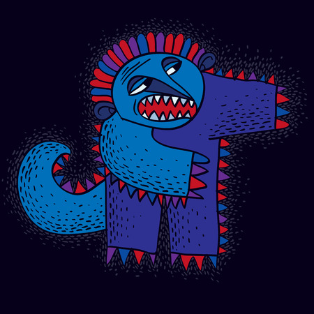 Character monster vector flat illustration, cute blue mutant. Drawing of weird beast, emotional expression.