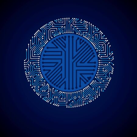 gleam: Futuristic cybernetic scheme, vector motherboard blue illustration with neon lights. Circular gleam element with circuit board texture.