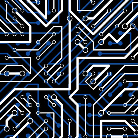 Vector electronic pattern with microchip scheme, luminescent circuit board, high tech futuristic background. Digital connections Illustration
