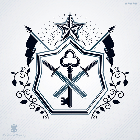 Heraldic sign made using vector vintage elements, security key with swords and pentagonal stars