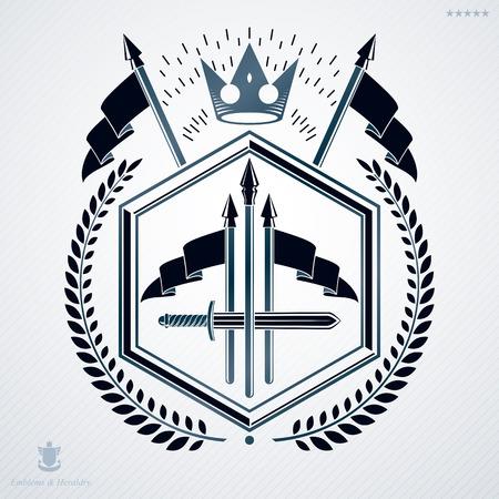 laurel leaf: Heraldic sign made using vector vintage elements, laurel leaf, weapon and monarch crown.