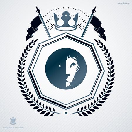 laurel leaf: Vintage heraldry design template, vector emblem created with laurel leaf, lion head and monarch crown.