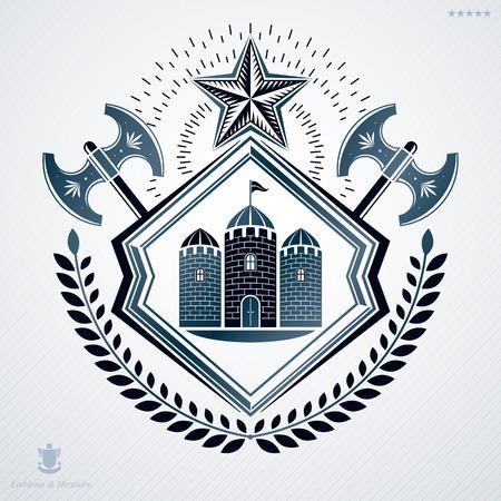 laurel leaf: Vintage heraldry design template, vector emblem created with laurel leaf and two hatchets.