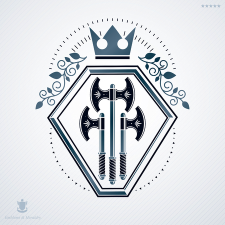 armory: Vintage heraldry design template, vector emblem created with armory and crown.