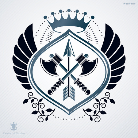 arsenal: Vintage decorative heraldic vector emblem composed using armory and monarch crown Illustration