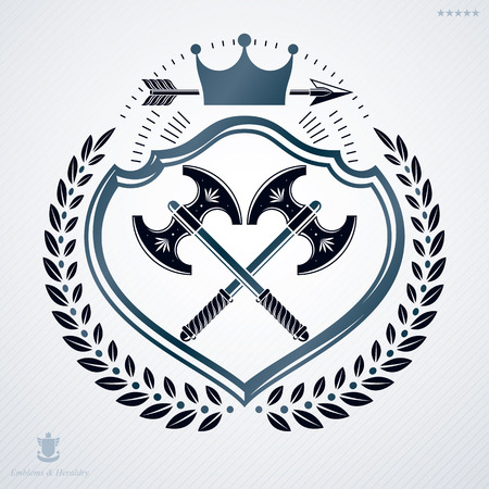 arsenal: Vintage decorative heraldic vector emblem composed using two hatchets crossed and monarch crown
