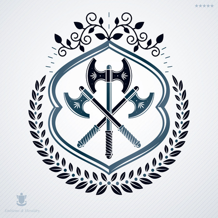 Vintage decorative heraldic vector emblem composed with hatchets