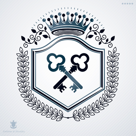 Vector vintage heraldic coat of arms created in award design and decorated using keys and monarch crown