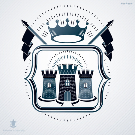 fortress: Classy emblem made with pentagonal stars decoration, medieval stronghold symbol. Vector heraldic Coat of Arms.