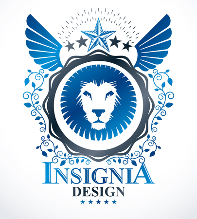 winged lion: composición emblema decorativo de la vendimia, vector heráldico.