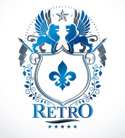 Heraldisch teken, element, wapenkunde embleem, insignes, teken, vector. Stockfoto - 67769482