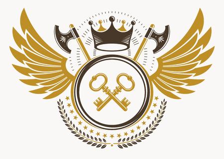 Vintage decorative heraldic vector emblem composed with eagle wings, hatchets and keys Illustration
