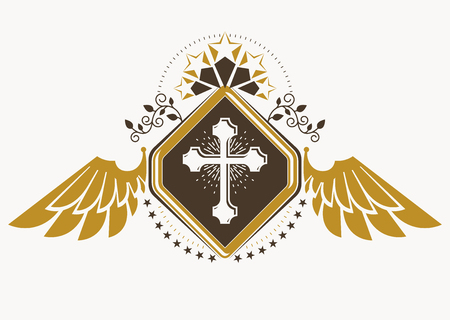 cross and wings: Vintage decorative heraldic vector emblem composed with eagle wings, Christian religious cross and pentagonal stars Illustration