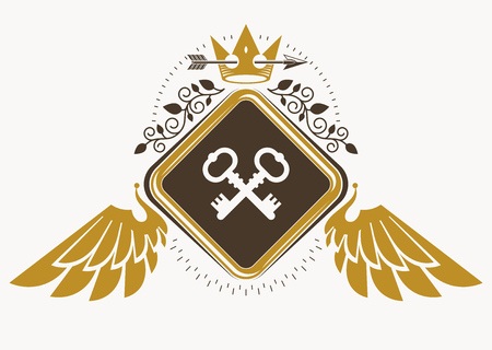 Vintage decorative heraldic vector emblem composed with eagle wings, security keys and monarch crown