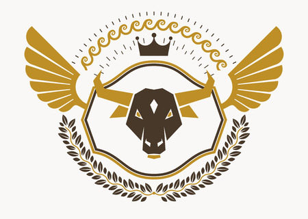 crown wings: Vintage decorative heraldic vector emblem composed with eagle wings, bull head illustration and imperial crown