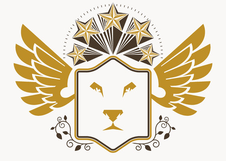 lion with wings: Vintage decorative heraldic vector emblem composed with eagle wings, wild lion illustration and pentagonal stars Illustration
