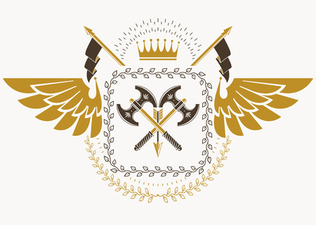 Vintage heraldry design template with bird wings, vector emblem created with royal crown and hatchets.