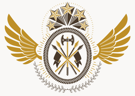 armory: Vintage heraldry design template with bird wings, vector emblem created with pentagonal stars and armory. Illustration