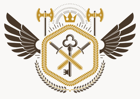 eagle shield and laurel wreath: Heraldic sign made using vector vintage elements, bird wings and hatchets