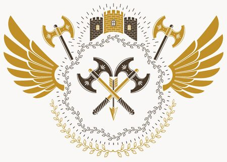 armory: Heraldic sign made using vector vintage elements, bird wings and armory