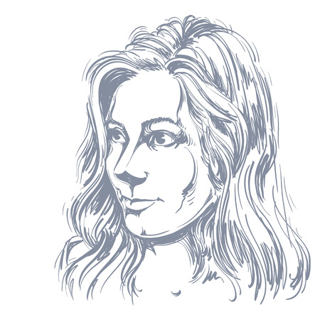 goodlooking: Vector portrait of attractive Caucasian woman with long wavy hair, illustration of good-looking female. Person emotional face expression.