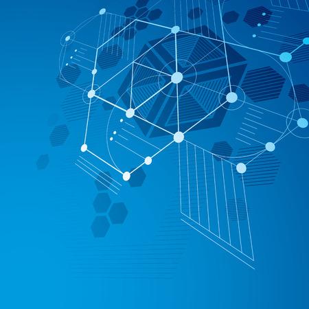 perspectiva lineal: Modular Bauhaus vector 3d fondo azul, creado a partir de figuras geométricas simples, como hexágonos y líneas. Mejor para su uso como cartel de la publicidad o el diseño de la bandera.
