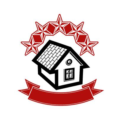 Simple house with five stars and classic ribbon. VIP apartment conceptual vector icon. Aristocratic building, decorative design element.