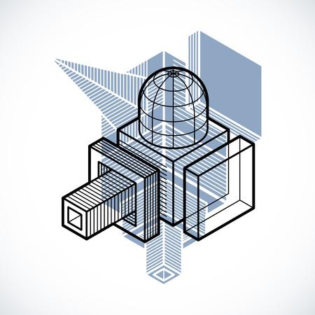 Engineering abstract shape, 3d vector polygonal figure. Illustration