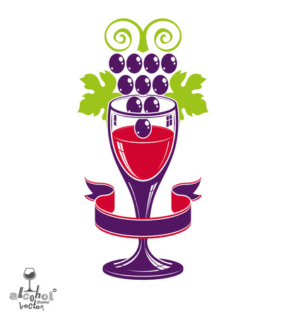Winery award theme vector illustration. Stylized half full glass of wine with grapes cluster and decorative ribbon, racemation symbol best for use in advertising and graphic design. Illustration