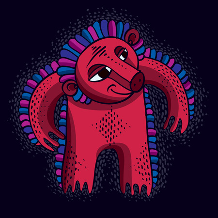 snoot: Vector cool cartoon angry monster, simple red weird creature with snoot. Clipart mythic character for use in graphic design and as mascot. Illustration