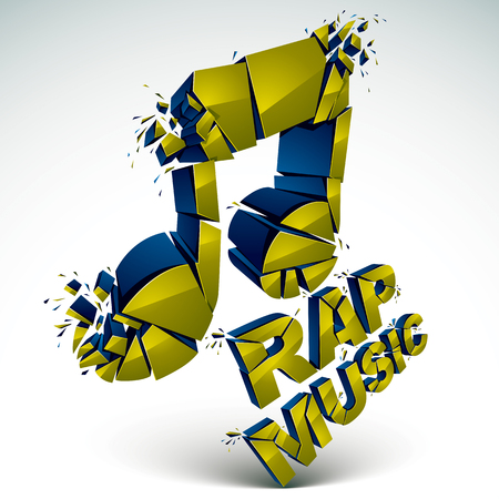 rap music: Green 3d vector shattered musical note with specks and refractions. Dimensional facet design music demolished symbol. Rap music theme. Illustration