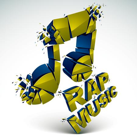 Vector verde 3d añicos nota musical con motas y refracciones. faceta dimensional diseño de la música demolido símbolo. Tema de la música rap.