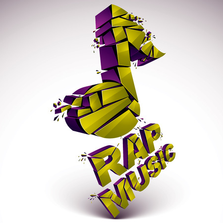 Green 3d vector shattered musical note with specks and refractions. Dimensional facet design music demolished symbol. Rap music theme. Illustration