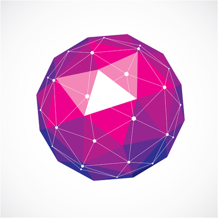Vector de alambre tridimensional objeto poli baja, la forma esférica de color púrpura con rejilla negro. Tecnología 3d elemento de malla hecha usando facetas triangulares para su uso como forma de diseño en ingeniería.
