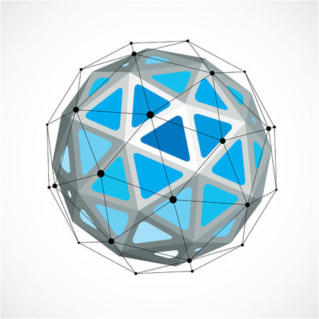3d vector digital wireframe spherical object made using triangular facets. Geometric polygonal structure created with lines mesh. Low poly shape, blue lattice form for use in web design. Illustration