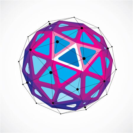 Abstract vector low poly object with black lines and dots connected. Purple 3d origami futuristic form with black overlapping lines mesh.
