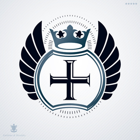 regal: Luxury heraldic vector emblem template made using Christian religious cross and royal crown Illustration