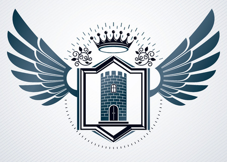 Vector vintage heraldic coat of arms created in award design and decorated using eagle wings, and medieval stronghold with royal crown Illustration