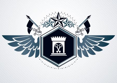 Heraldic Coat of Arms decorative vintage emblem, vector illustration of pentagonal stars and medieval fortress
