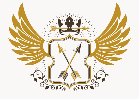armory: Classy emblem made with eagle wings decoration, armory and royal crown symbol. Vector heraldic Coat of Arms. Illustration