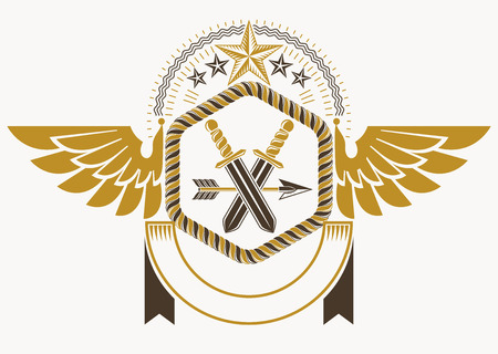armory: Classy emblem made with eagle wings decoration, armory and stars. Vector heraldic Coat of Arms.