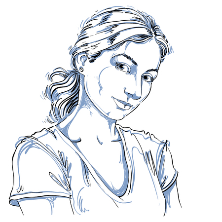 Hand-drawn vector illustration of beautiful romantic and tender woman. Monochrome image, expressions on face of young lady looking at somebody with love and caring.