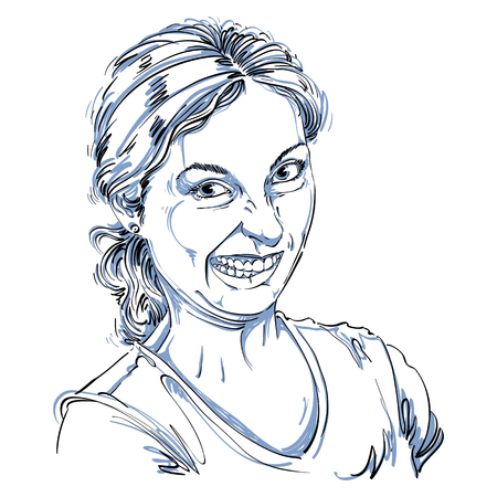 Vector drawing of woman making a funny grimace. Black and white portrait of girl making a silly face. Illustration